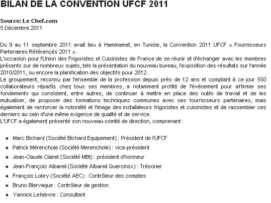 Bilan de la convention UFCF 2011