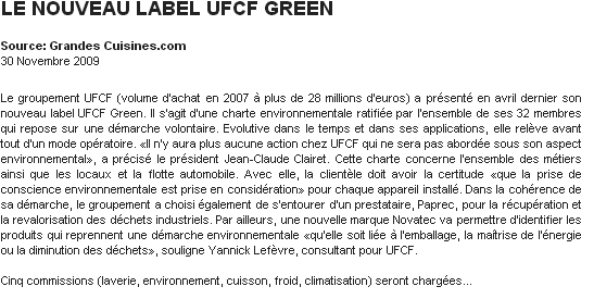 LE NOUVEAU LABEL UFCF GREEN